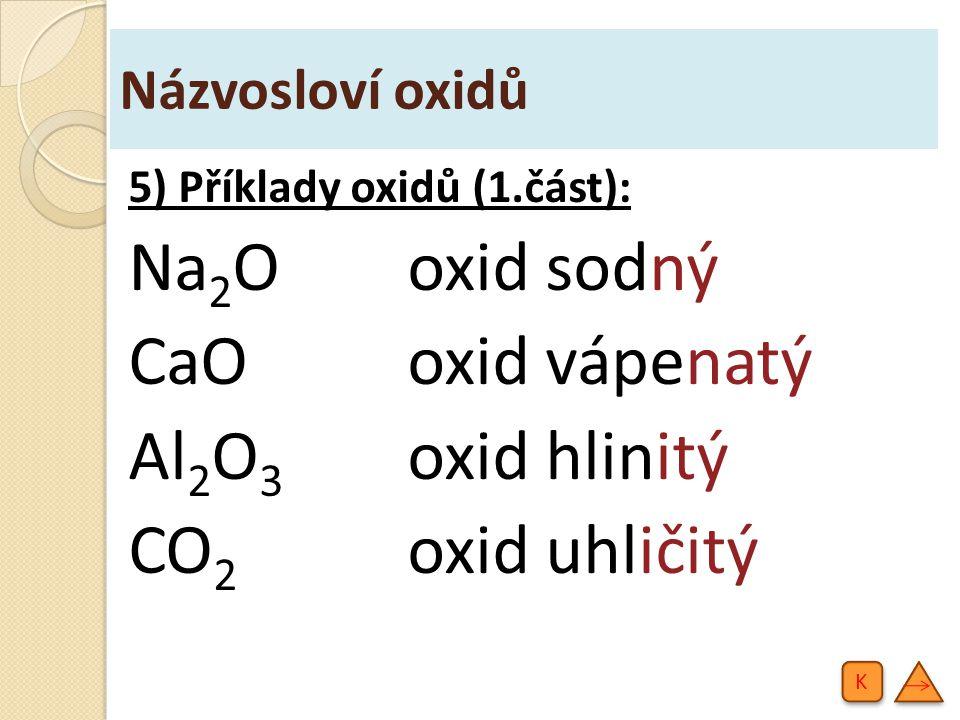 Názvosloví oxidů - procvičování Re 2 O 7 Ta 2 O 5 XeO 4 UO 3 oxid rhenistý oxid tantaličný oxid xenoničelý oxid uranový 1) Odvoďte názvy oxidů: K