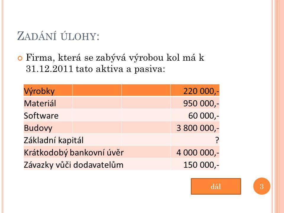 Z ADÁNÍ ÚLOHY : Firma, která se zabývá výrobou kol má k 31.12.2011 tato aktiva a pasiva: Výrobky220 000,- Materiál950 000,- Software60 000,- Budovy3 800 000,- Základní kapitál.