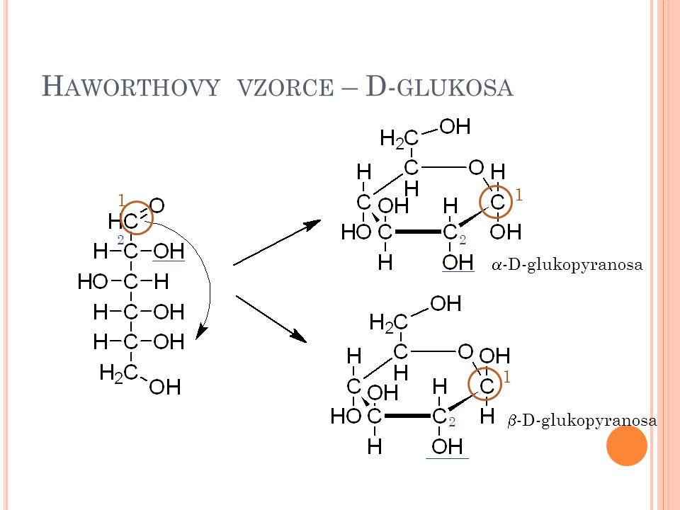H AWORTHOVY VZORCE – D- GLUKOSA 1 1 1  -D-glukopyranosa  -D-glukopyranosa 22 2