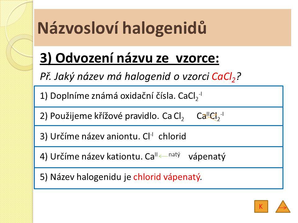 Názvosloví halogenidů 3) Odvození názvu ze vzorce: Př. Jaký název má halogenid o vzorci CaCl 2 ? 1) Doplníme známá oxidační čísla. CaCl 2 -I 2) Použij