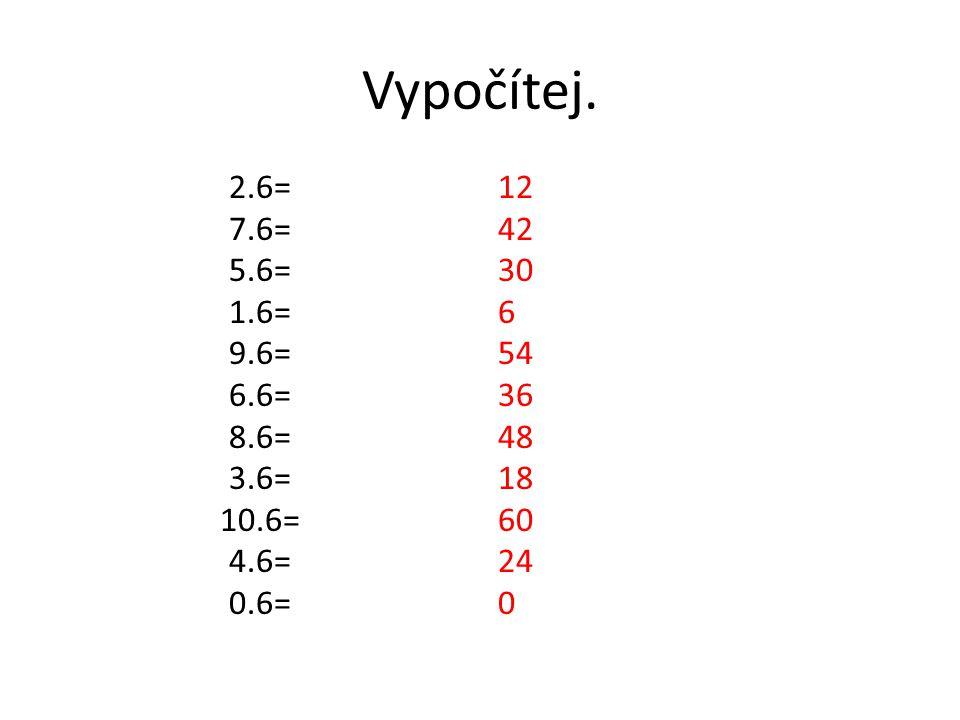Vypočítej. 2.6= 7.6= 5.6= 1.6= 9.6= 6.6= 8.6= 3.6= 10.6= 4.6= 0.6= 12 42 30 6 54 36 48 18 60 24 0