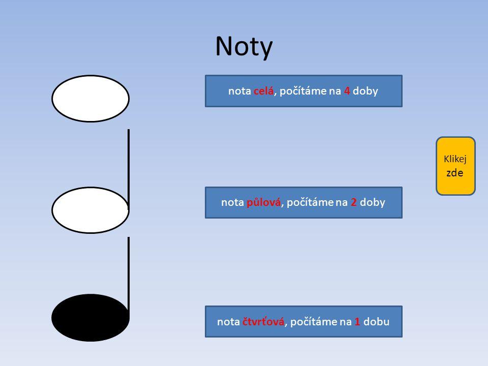 Kliknutím na modré obdélníčky vyber správné odpovědi: nota celá nota půlová nota čtvrťová 4 doby 2 doby 1 doba nota celá nota půlová nota čtvrťová 4 doby 2 doby 1 doba nota celá nota půlová nota čtvrťová 4 doby 2 doby 1 doba další