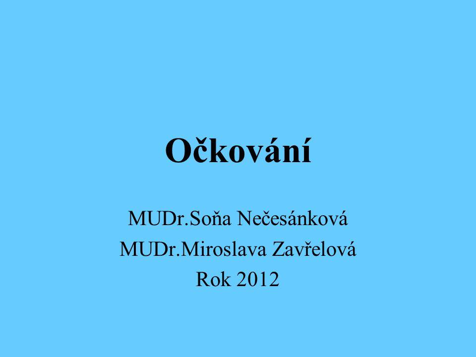 Očkování MUDr.Soňa Nečesánková MUDr.Miroslava Zavřelová Rok 2012