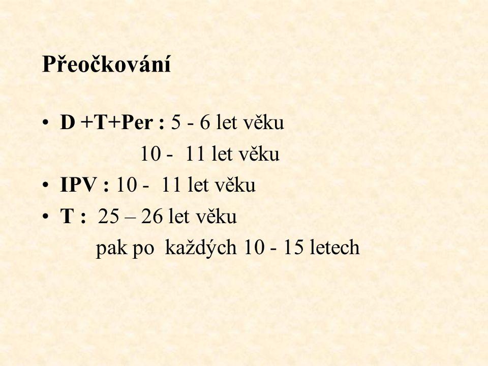 Přeočkování D +T+Per : 5 - 6 let věku 10 - 11 let věku IPV : 10 - 11 let věku T : 25 – 26 let věku pak po každých 10 - 15 letech