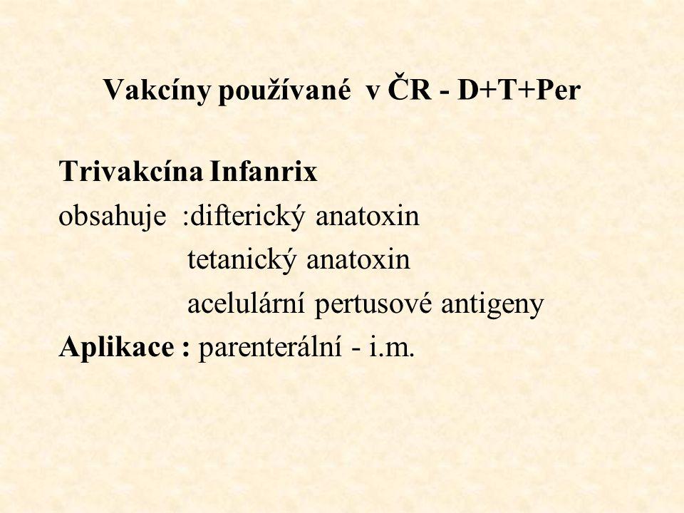 Vakcíny používané v ČR - D+T+Per Trivakcína Infanrix obsahuje :difterický anatoxin tetanický anatoxin acelulární pertusové antigeny Aplikace : parenterální - i.m.