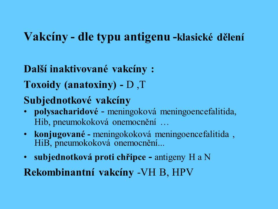 Vakcíny - dle typu antigenu - klasické dělení Další inaktivované vakcíny : Toxoidy (anatoxiny) - D,T Subjednotkové vakcíny polysacharidové - meningoková meningoencefalitida, Hib, pneumokoková onemocnění … konjugované - meningokoková meningoencefalitida, HiB, pneumokoková onemocnění...