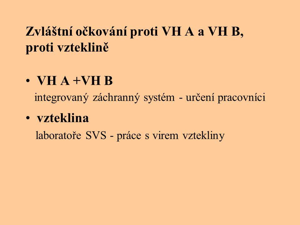 Zvláštní očkování proti VH A a VH B, proti vzteklině VH A +VH B integrovaný záchranný systém - určení pracovníci vzteklina laboratoře SVS - práce s virem vztekliny