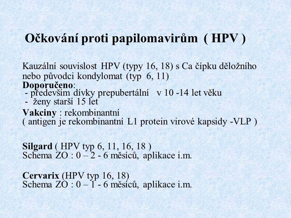 Očkování proti papilomavirům ( HPV ) Kauzální souvislost HPV (typy 16, 18) s Ca čípku děložního nebo původci kondylomat (typ 6, 11) Doporučeno: - především dívky prepubertální v 10 -14 let věku - ženy starší 15 let Vakciny : rekombinantní ( antigen je rekombinantní L1 protein virové kapsidy -VLP ) Silgard ( HPV typ 6, 11, 16, 18 ) Schema ZO : 0 – 2 - 6 měsíců, aplikace i.m.