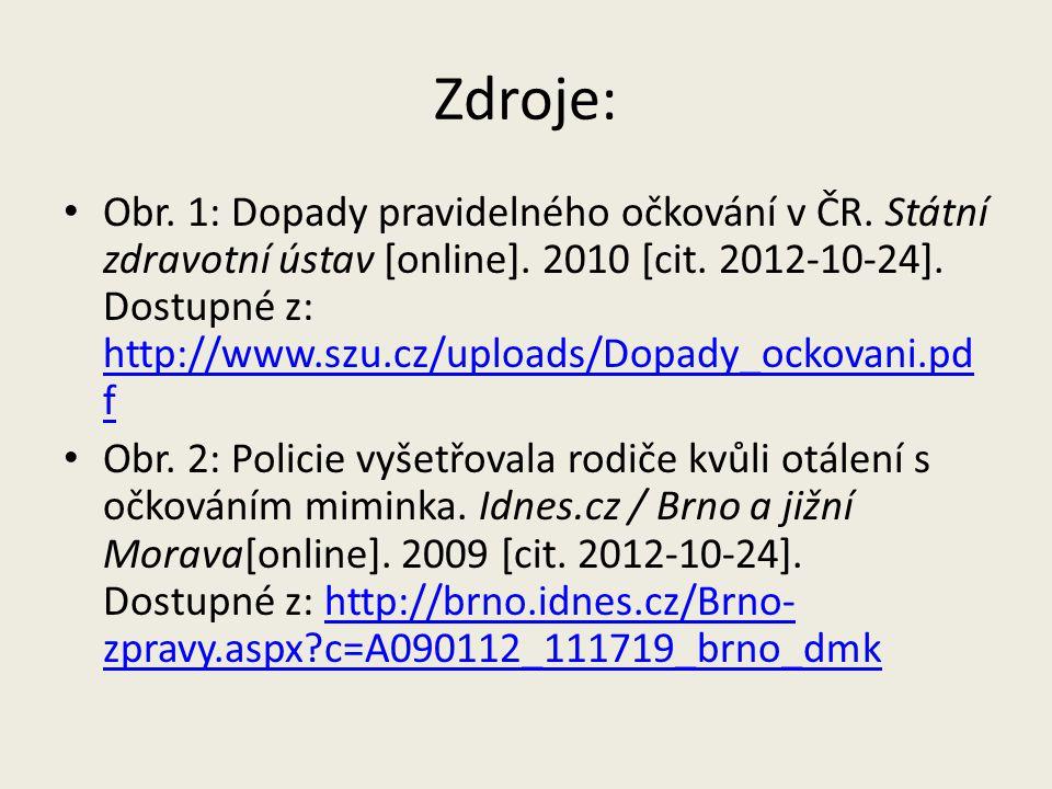 Zdroje: Obr.1: Dopady pravidelného očkování v ČR.
