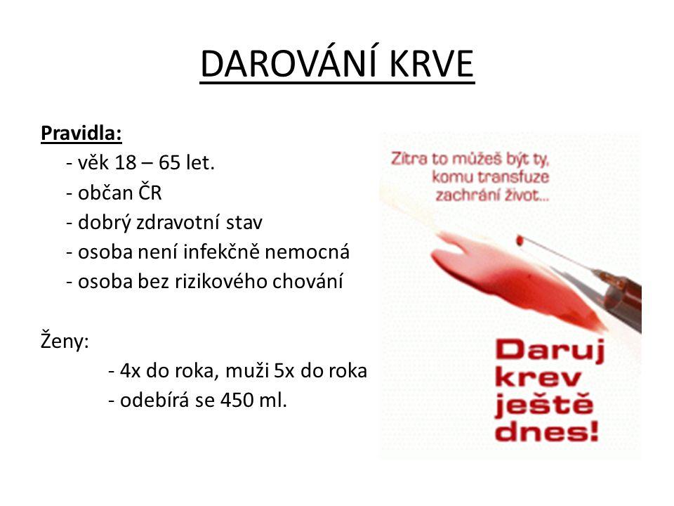 DAROVÁNÍ KRVE Pravidla: - věk 18 – 65 let. - občan ČR - dobrý zdravotní stav - osoba není infekčně nemocná - osoba bez rizikového chování Ženy: - 4x d
