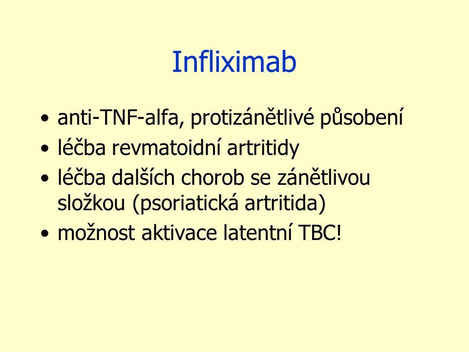 Infliximab anti-TNF-alfa, protizánětlivé působení léčba revmatoidní artritidy léčba dalších chorob se zánětlivou složkou (psoriatická artritida) možno