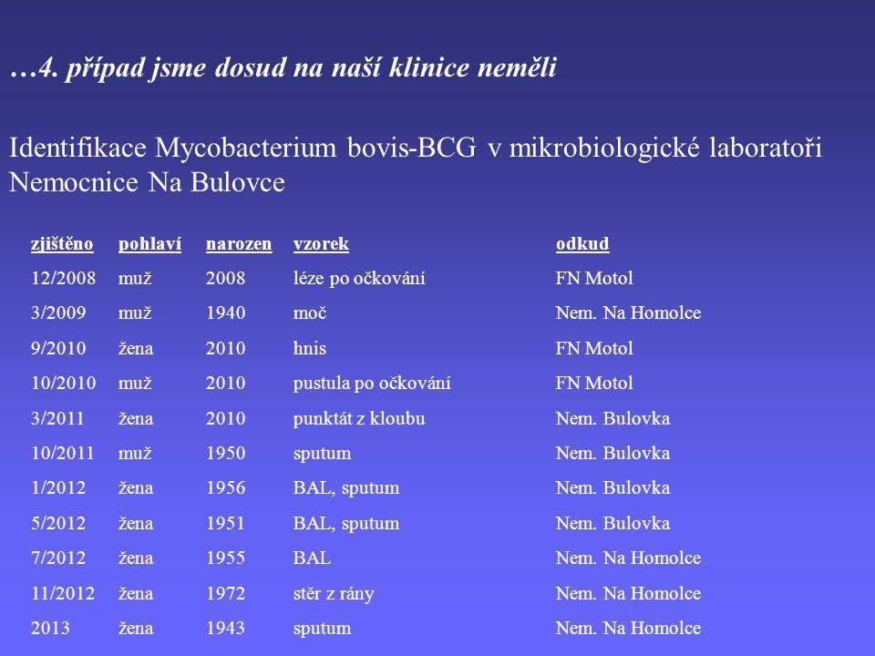 …4. případ jsme dosud na naší klinice neměli Identifikace Mycobacterium bovis-BCG v mikrobiologické laboratoři Nemocnice Na Bulovce zjištěnopohlavínar