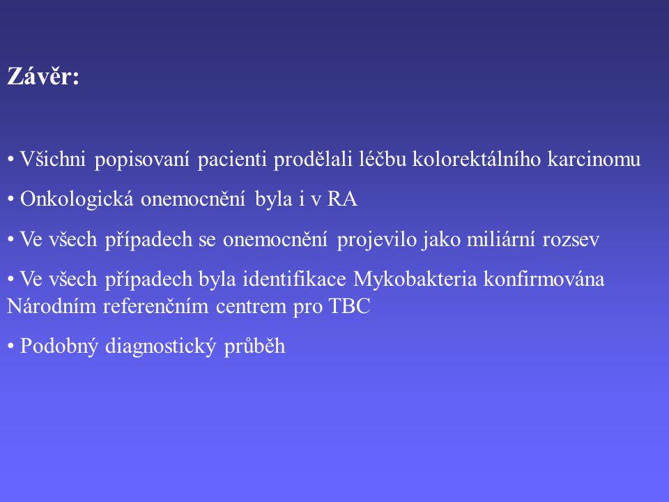 Závěr: Všichni popisovaní pacienti prodělali léčbu kolorektálního karcinomu Onkologická onemocnění byla i v RA Ve všech případech se onemocnění projevilo jako miliární rozsev Ve všech případech byla identifikace Mykobakteria konfirmována Národním referenčním centrem pro TBC Podobný diagnostický průběh