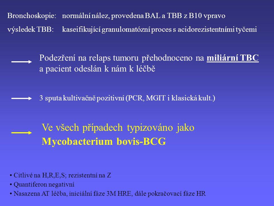 Bronchoskopie: normální nález, provedena BAL a TBB z B10 vpravo výsledek TBB: kaseifikující granulomatózní proces s acidorezistentními tyčemi Podezření na relaps tumoru přehodnoceno na miliární TBC a pacient odeslán k nám k léčbě 3 sputa kultivačně pozitivní (PCR, MGIT i klasická kult.) Ve všech případech typizováno jako Mycobacterium bovis-BCG Citlivé na H,R,E,S; rezistentní na Z Quantiferon negativní Nasazena AT léčba, iniciální fáze 3M HRE, dále pokračovací fáze HR