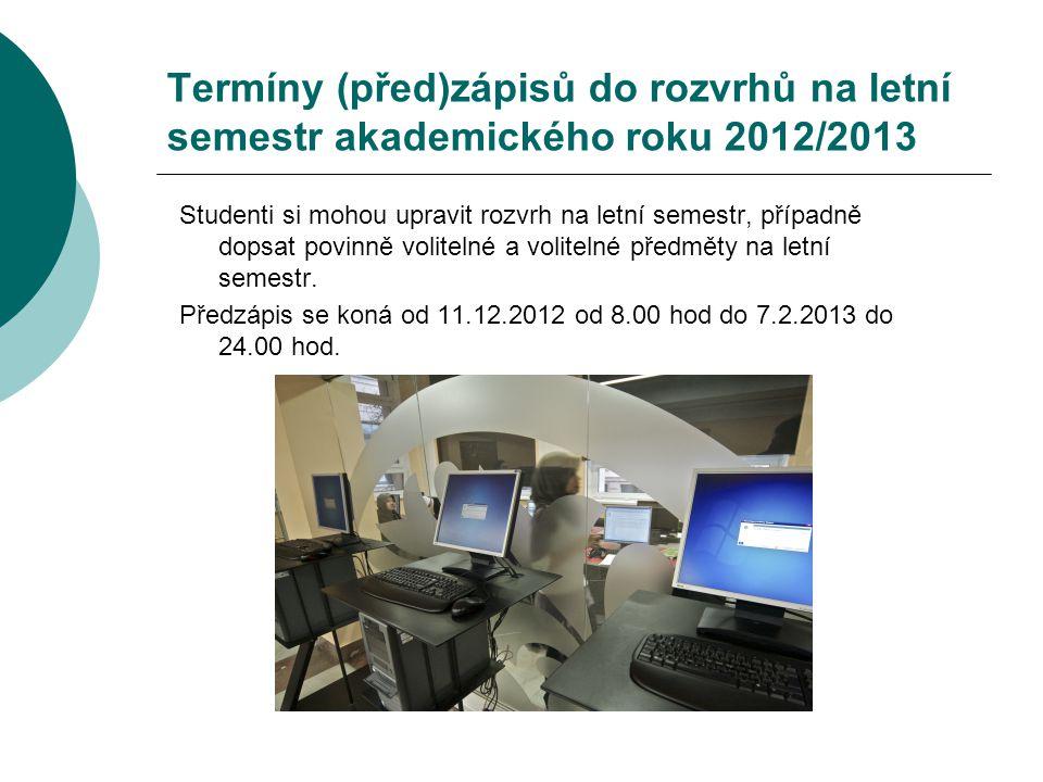 Termíny (před)zápisů do rozvrhů na letní semestr akademického roku 2012/2013 Studenti si mohou upravit rozvrh na letní semestr, případně dopsat povinn