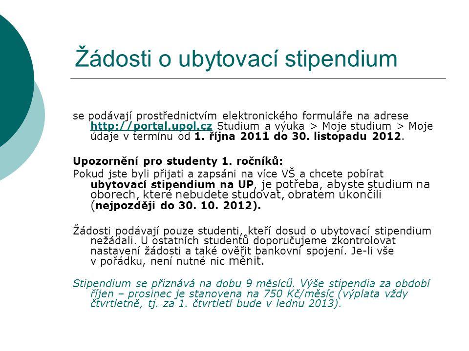 Žádosti o ubytovací stipendium se podávají prostřednictvím elektronického formuláře na adrese http://portal.upol.cz Studium a výuka > Moje studium > M