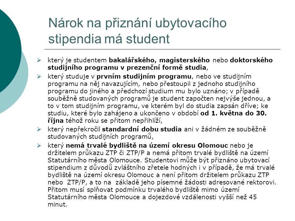 Nárok na přiznání ubytovacího stipendia má student  který je studentem bakalářského, magisterského nebo doktorského studijního programu v prezenční f