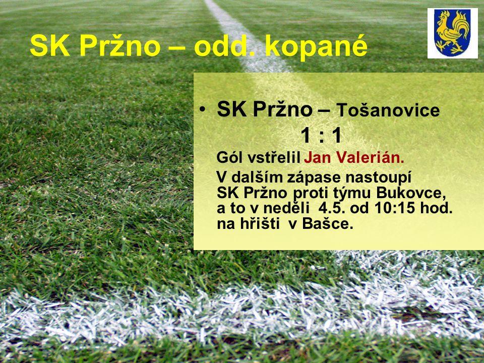 SK Pržno – odd. kopané SK Pržno – Tošanovice 1 : 1 Gól vstřelil Jan Valerián. V dalším zápase nastoupí SK Pržno proti týmu Bukovce, a to v neděli 4.5.