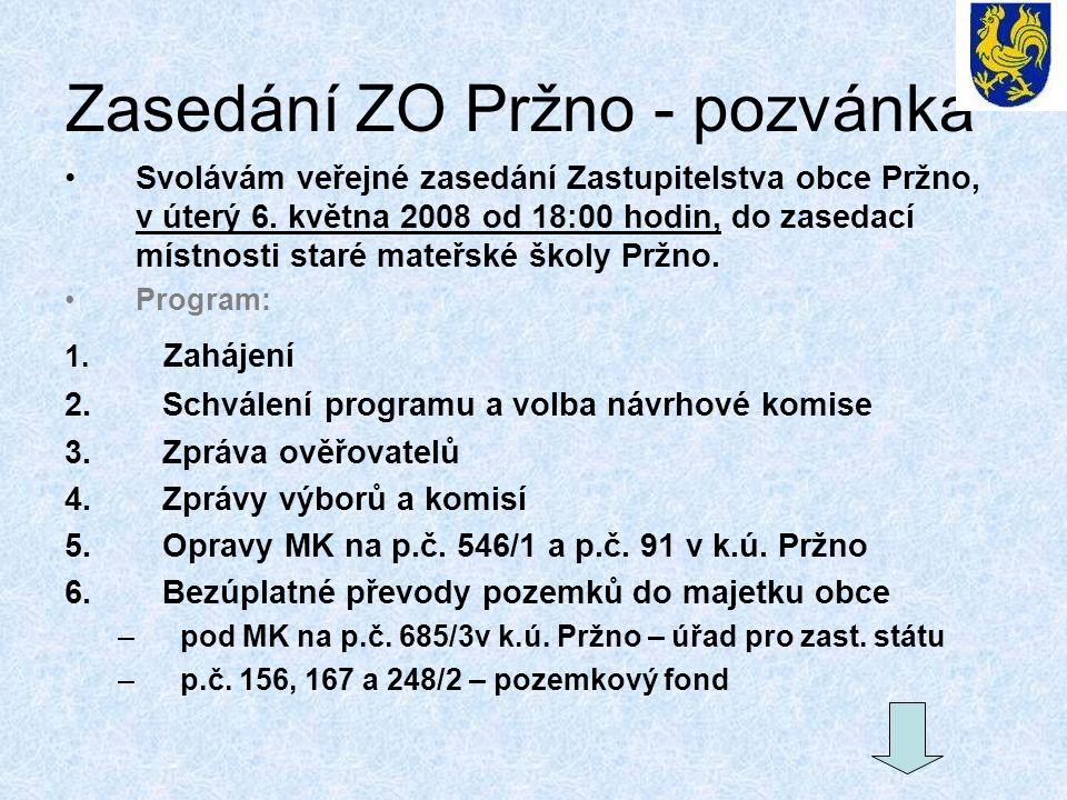 Zasedání ZO Pržno - pozvánka Svolávám veřejné zasedání Zastupitelstva obce Pržno, v úterý 6. května 2008 od 18:00 hodin, do zasedací místnosti staré m