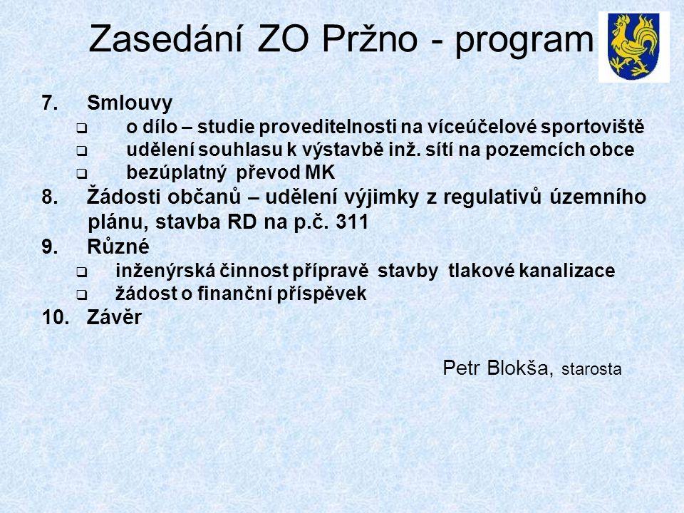Zasedání ZO Pržno - program 7.Smlouvy  o dílo – studie proveditelnosti na víceúčelové sportoviště  udělení souhlasu k výstavbě inž. sítí na pozemcíc