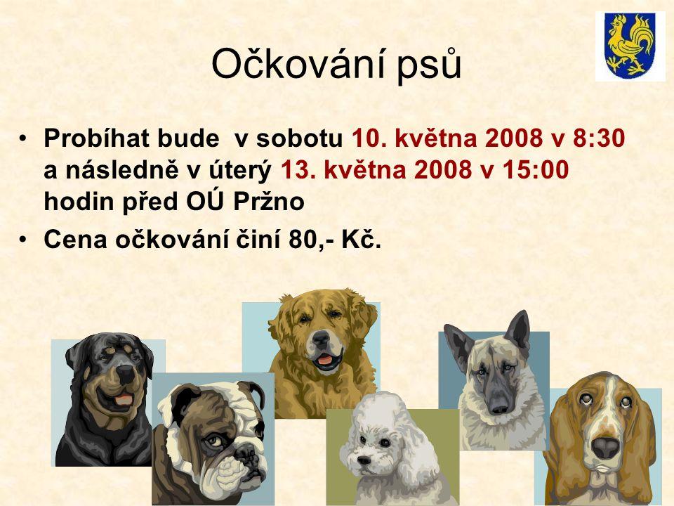 Očkování psů Probíhat bude v sobotu 10. května 2008 v 8:30 a následně v úterý 13. května 2008 v 15:00 hodin před OÚ Pržno Cena očkování činí 80,- Kč.