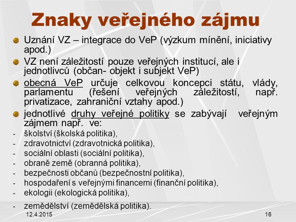 12.4.201516 Znaky veřejného zájmu Uznání VZ – integrace do VeP (výzkum mínění, iniciativy apod.) VZ není záležitostí pouze veřejných institucí, ale i