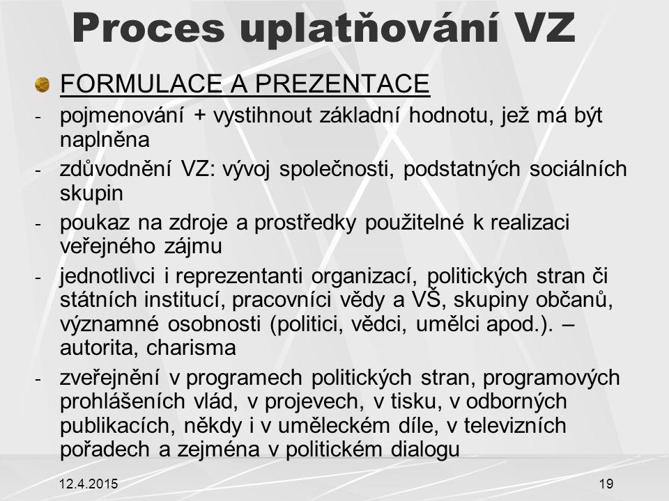 12.4.201519 Proces uplatňování VZ FORMULACE A PREZENTACE - pojmenování + vystihnout základní hodnotu, jež má být naplněna - zdůvodnění VZ: vývoj spole