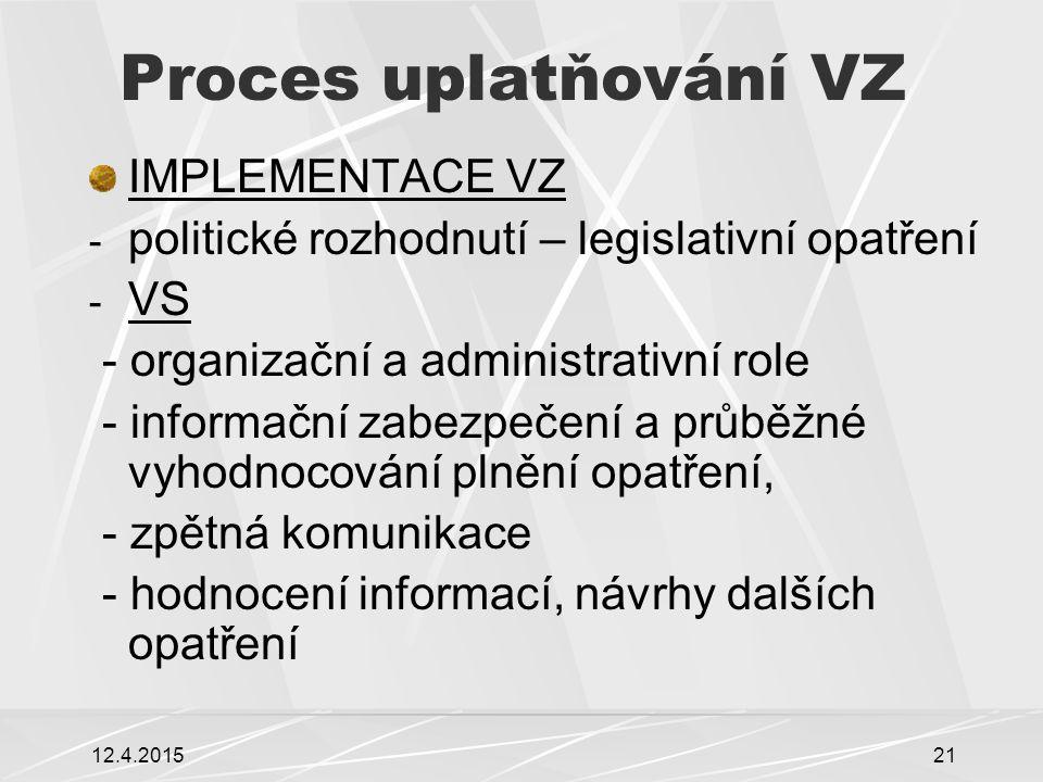 12.4.201521 Proces uplatňování VZ IMPLEMENTACE VZ - politické rozhodnutí – legislativní opatření - VS - organizační a administrativní role - informačn