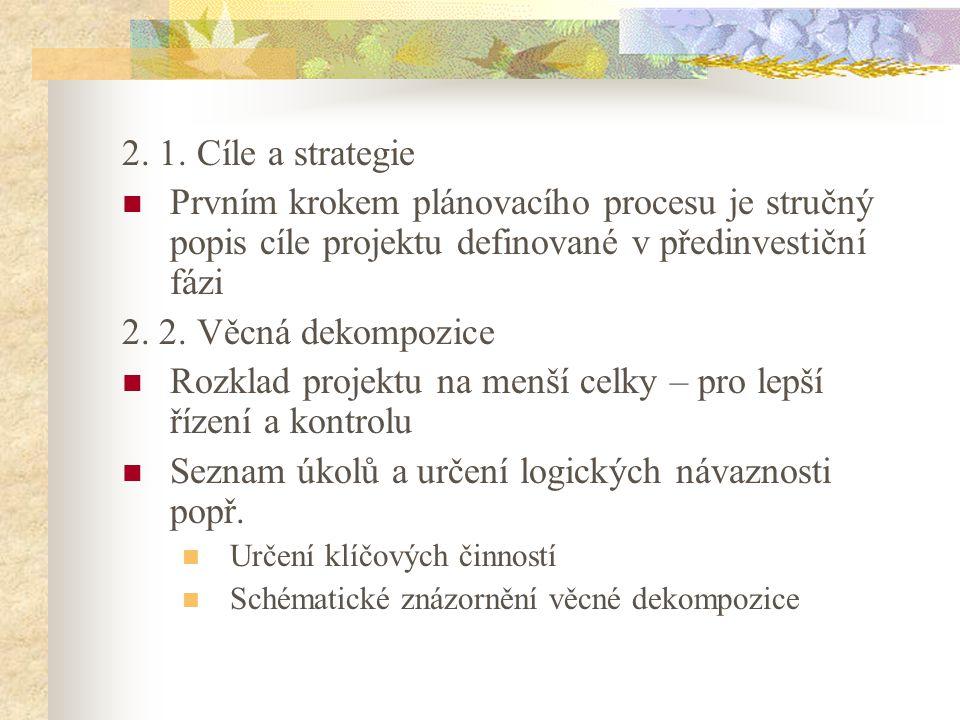 2. 1. Cíle a strategie Prvním krokem plánovacího procesu je stručný popis cíle projektu definované v předinvestiční fázi 2. 2. Věcná dekompozice Rozkl