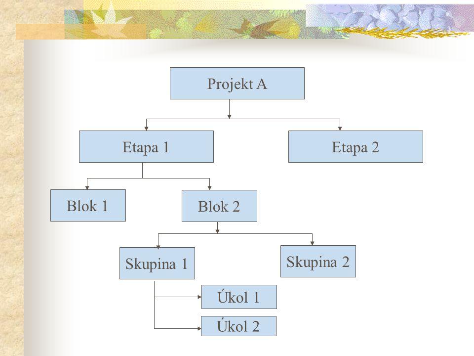 Projekt A Etapa 1Etapa 2 Blok 1 Blok 2 Skupina 1 Skupina 2 Úkol 1 Úkol 2