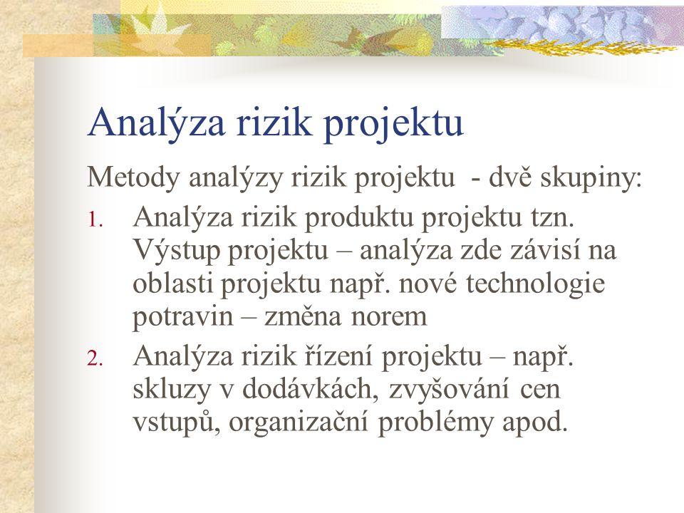 Analýza rizik projektu Metody analýzy rizik projektu - dvě skupiny: 1. Analýza rizik produktu projektu tzn. Výstup projektu – analýza zde závisí na ob