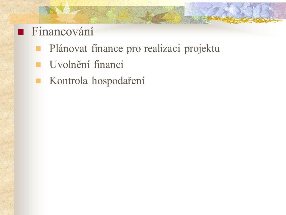 Financování Plánovat finance pro realizaci projektu Uvolnění financí Kontrola hospodaření