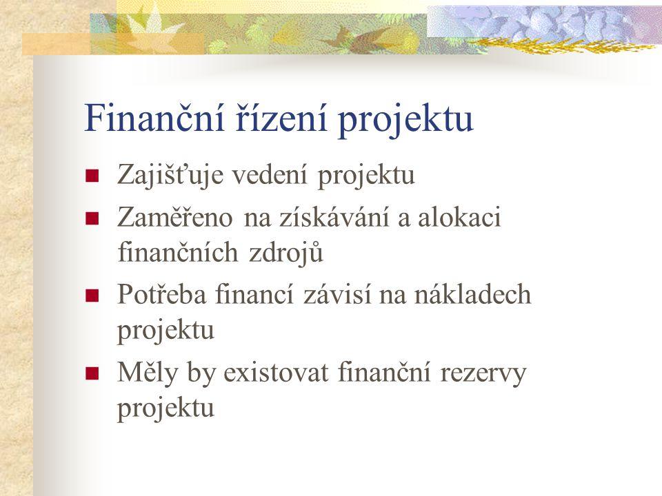 Finanční řízení projektu Zajišťuje vedení projektu Zaměřeno na získávání a alokaci finančních zdrojů Potřeba financí závisí na nákladech projektu Měly