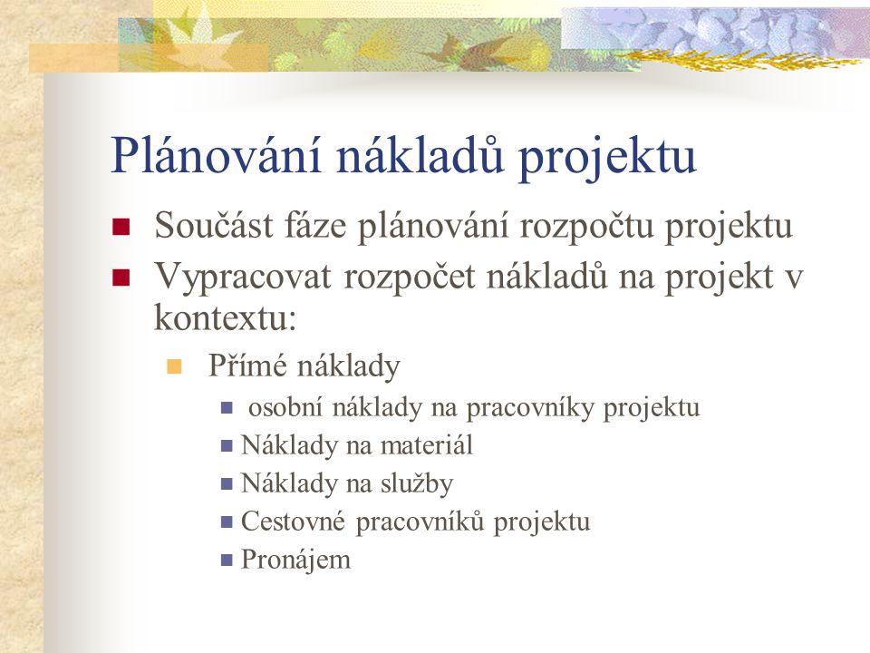 Plánování nákladů projektu Součást fáze plánování rozpočtu projektu Vypracovat rozpočet nákladů na projekt v kontextu: Přímé náklady osobní náklady na