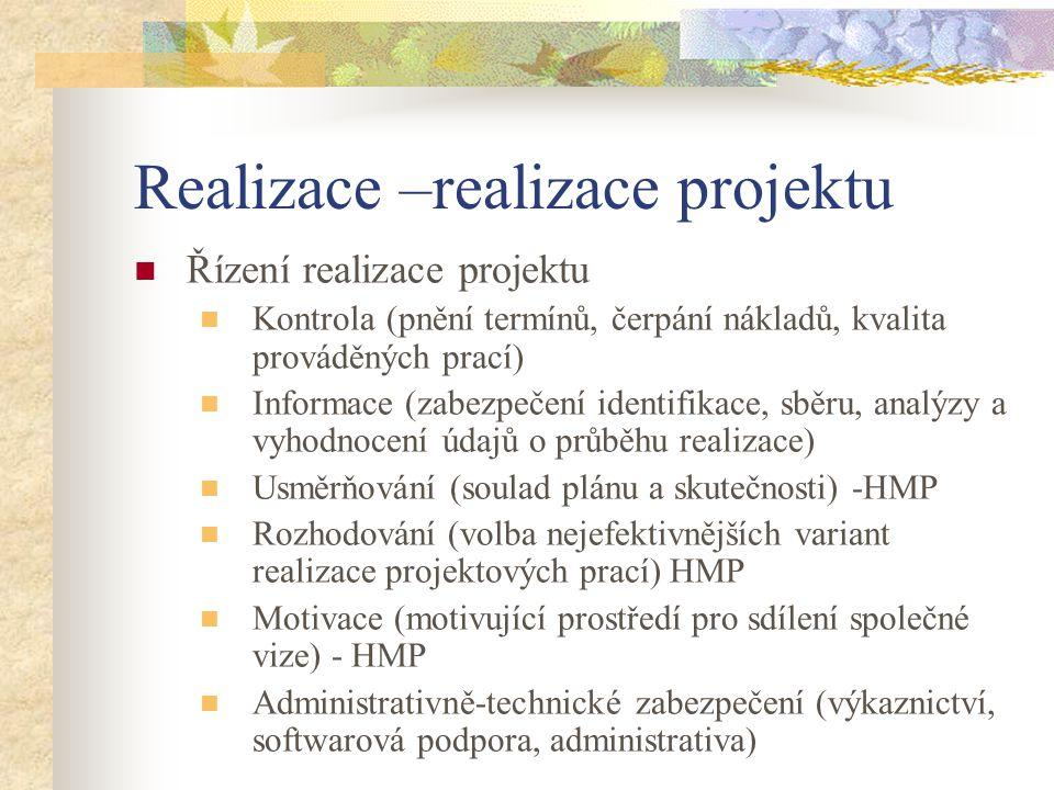 Realizace –realizace projektu Řízení realizace projektu Kontrola (pnění termínů, čerpání nákladů, kvalita prováděných prací) Informace (zabezpečení id