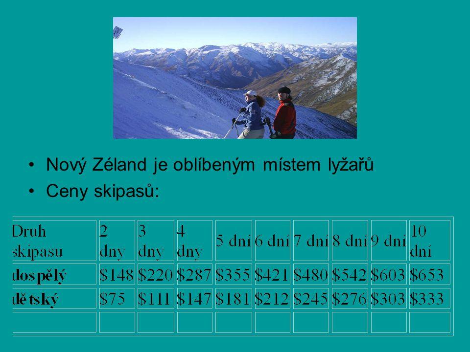 Nový Zéland je oblíbeným místem lyžařů Ceny skipasů: