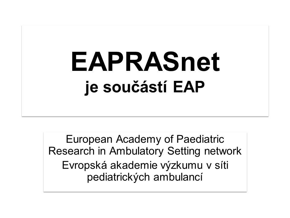 EAPRASnet je součástí EAP European Academy of Paediatric Research in Ambulatory Setting network Evropská akademie výzkumu v síti pediatrických ambulancí European Academy of Paediatric Research in Ambulatory Setting network Evropská akademie výzkumu v síti pediatrických ambulancí