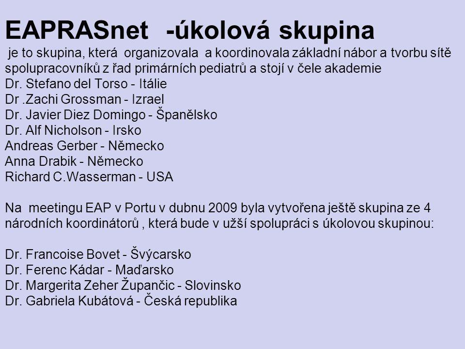 EAPRASnet -úkolová skupina je to skupina, která organizovala a koordinovala základní nábor a tvorbu sítě spolupracovníků z řad primárních pediatrů a s