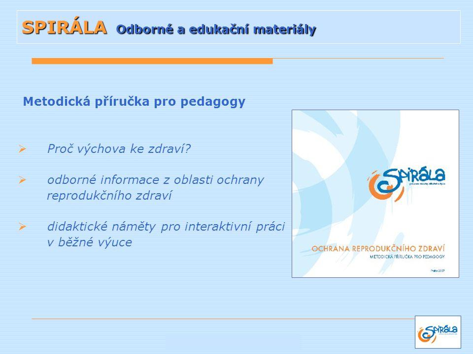 Metodická příručka pro pedagogy  Proč výchova ke zdraví?  odborné informace z oblasti ochrany reprodukčního zdraví  didaktické náměty pro interakti
