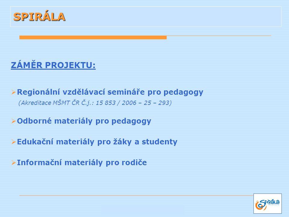 ZÁMĚR PROJEKTU:  Regionální vzdělávací semináře pro pedagogy (Akreditace MŠMT ČR Č.j.: 15 853 / 2006 – 25 – 293)  Odborné materiály pro pedagogy  E