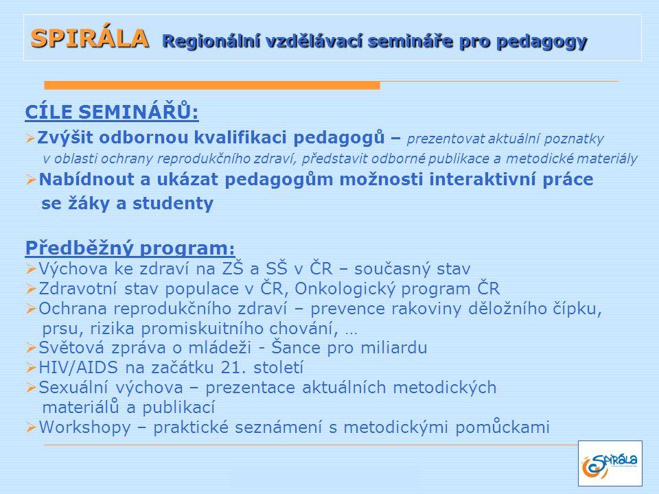 CÍLE SEMINÁŘŮ:  Zvýšit odbornou kvalifikaci pedagogů – prezentovat aktuální poznatky v oblasti ochrany reprodukčního zdraví, představit odborné publi