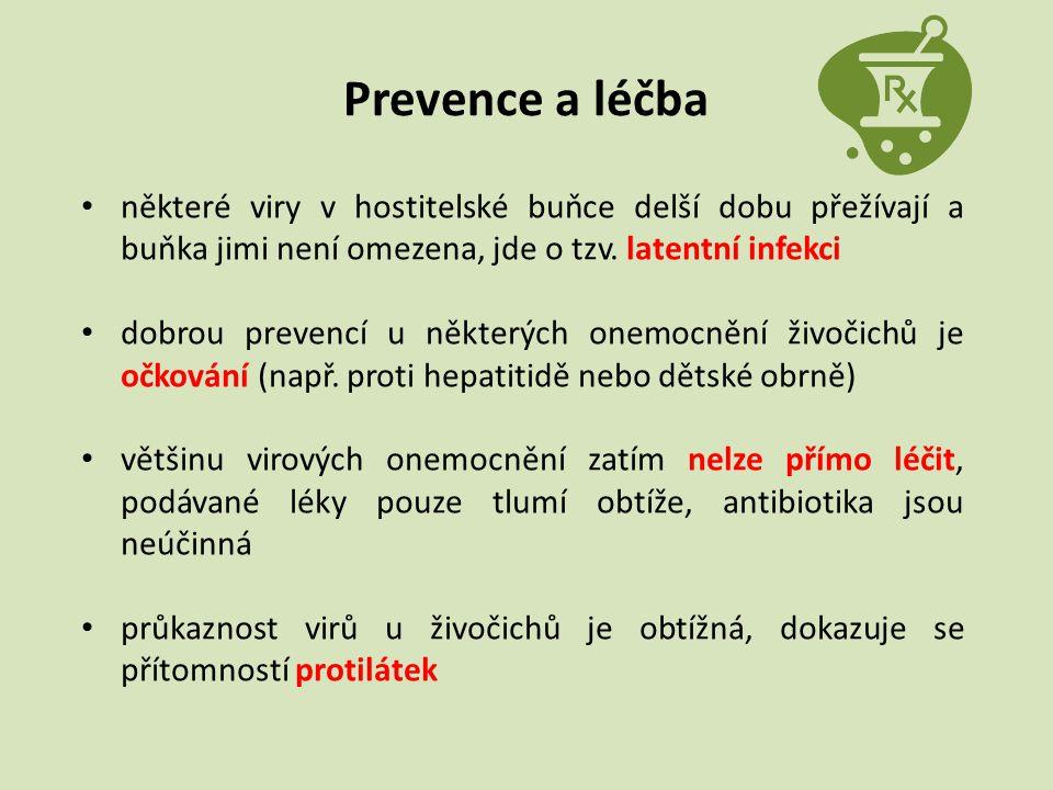 Prevence a léčba některé viry v hostitelské buňce delší dobu přežívají a buňka jimi není omezena, jde o tzv. latentní infekci dobrou prevencí u někter