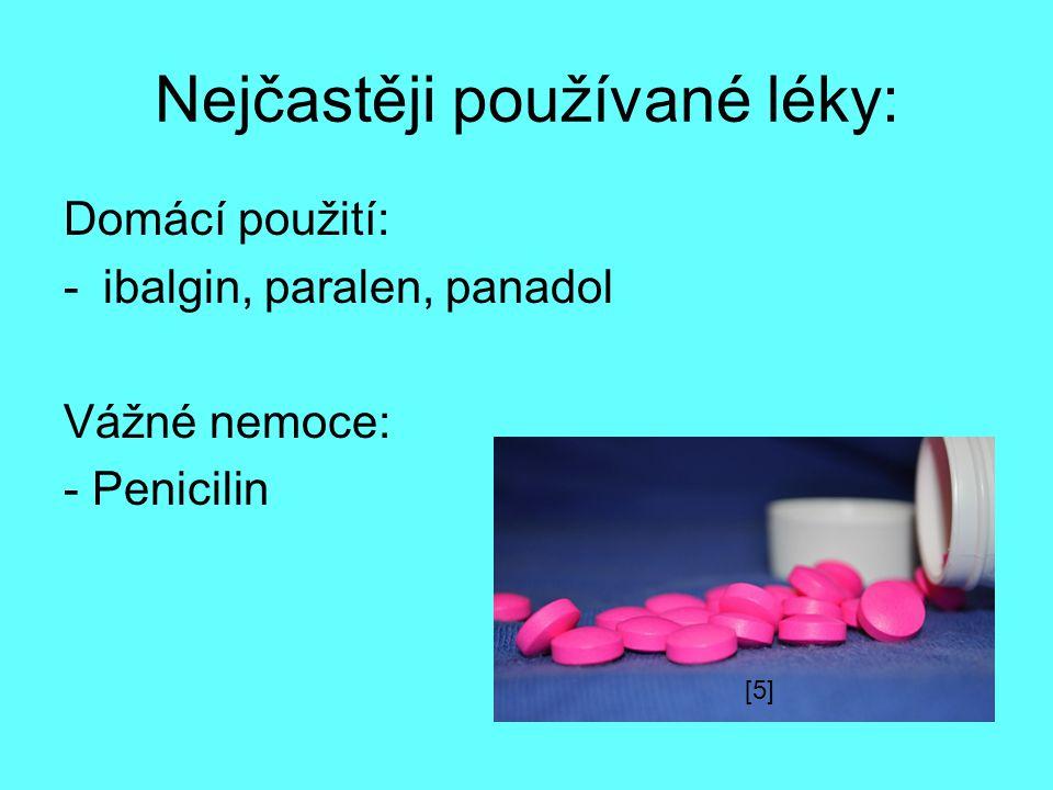 Nejčastěji používané léky: Domácí použití: -ibalgin, paralen, panadol Vážné nemoce: - Penicilin [5]