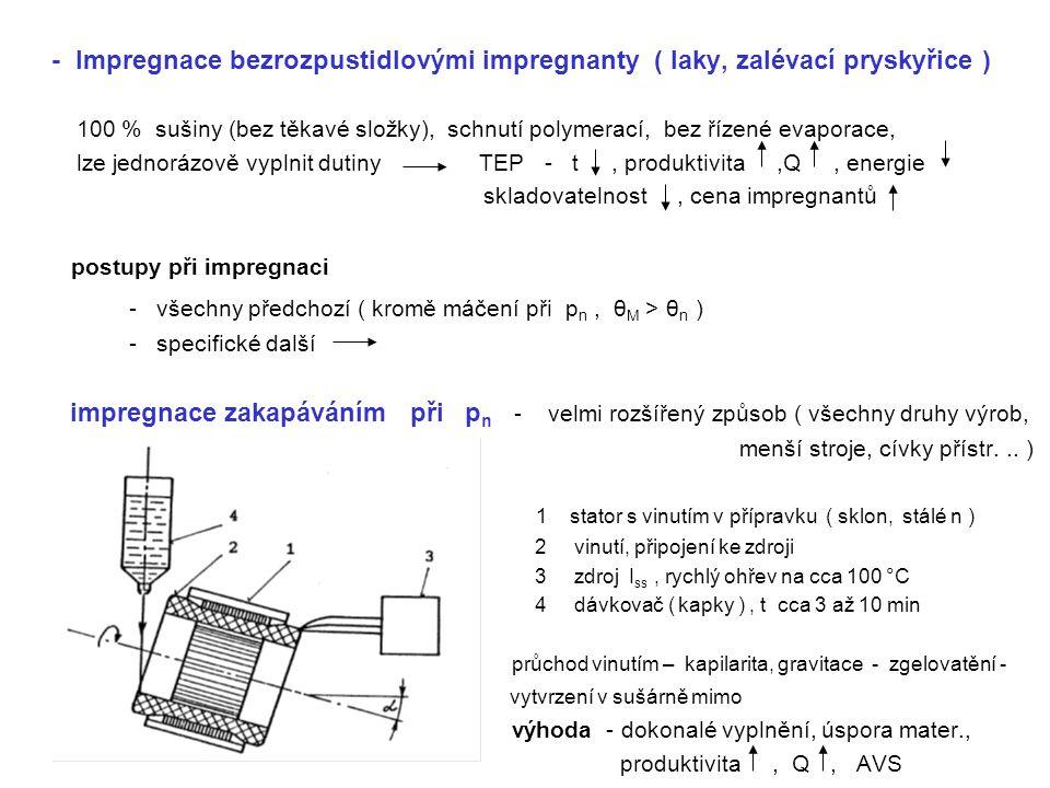 - Impregnace bezrozpustidlovými impregnanty ( laky, zalévací pryskyřice ) 100 % sušiny (bez těkavé složky), schnutí polymerací, bez řízené evaporace,