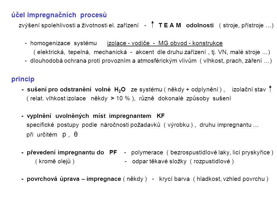 výsledná kvalita TEP impregnace - kvalita vysušení ( odplynění ) - dokonalost vyplnění volných míst impregnantem - kvalita vytvrzení ( KF PF ), - dokončení TEP ( povrchová impregnace ) - vlastnosti impregnační látky