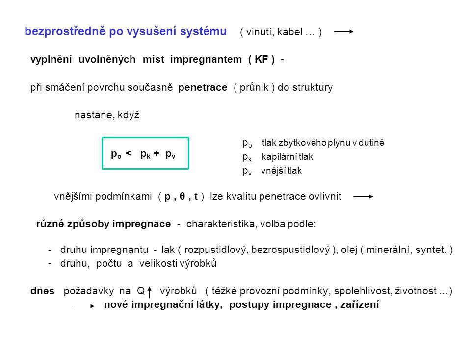 - Impregnace rozpustidlovým lakem ( dnes méně, levnější lak ) cca 50 % ( ředidlo, rozpouštědlo ) - těkavá složka po vytvrzení Δ V ( KF, PF ) – nelze jednorázově vyplnit – vícenásobná impregnace ( až 3 x – dle nároč.
