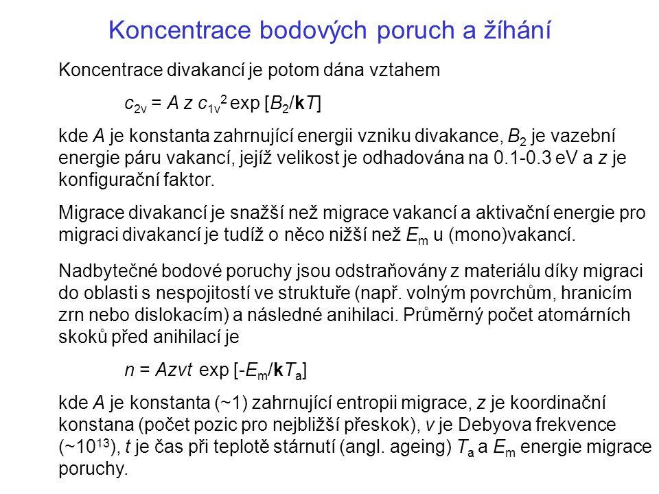 Koncentrace bodových poruch a žíhání Koncentrace divakancí je potom dána vztahem c 2v = A z c 1v 2 exp [B 2 /kT] kde A je konstanta zahrnující energii