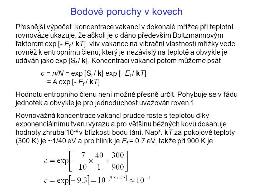 Bodové poruchy v kovech Přesnější výpočet koncentrace vakancí v dokonalé mřížce při teplotní rovnováze ukazuje, že ačkoli je c dáno především Boltzman