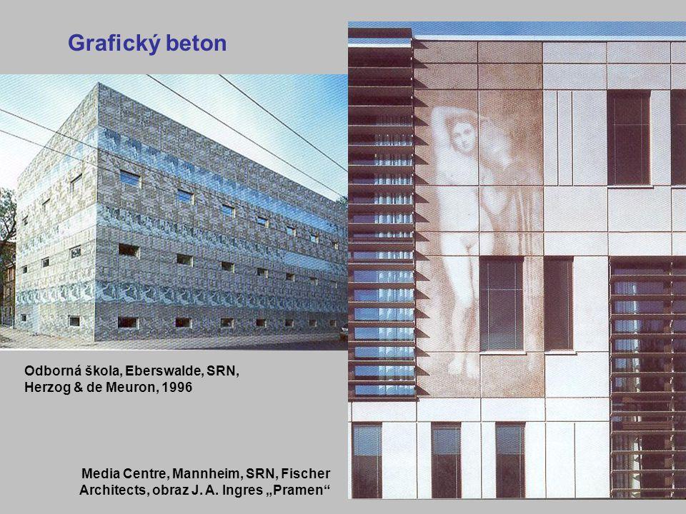 8 Odborná škola, Eberswalde, SRN, Herzog & de Meuron, 1996 Media Centre, Mannheim, SRN, Fischer Architects, obraz J.