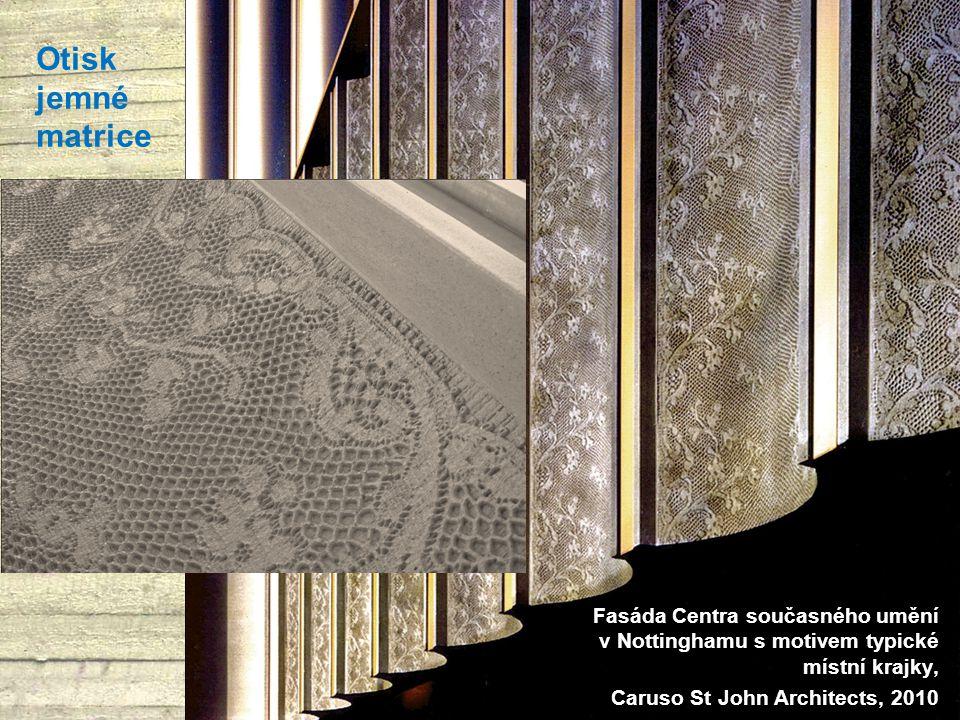 Otisk jemné matrice Fasáda Centra současného umění v Nottinghamu s motivem typické místní krajky, Caruso St John Architects, 2010